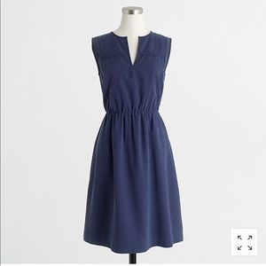 J Crew Sandwashed Twill Scarf Dress in Navy